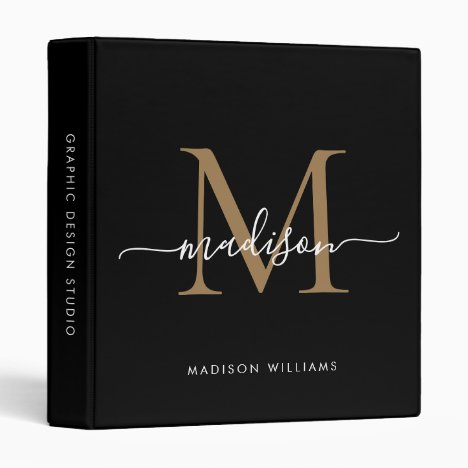 Elegant Monogram Black Gold Script Office School 3 Ring Binder
