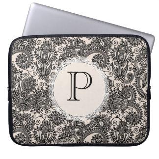 Elegant Monogram Black Lace Designer Laptop Bag