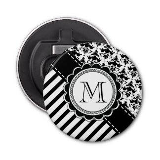 Elegant Monogram Black n White Stripes and Damask Bottle Opener