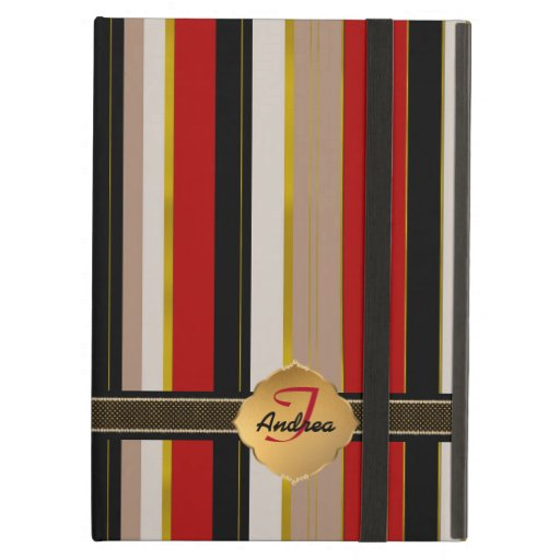 Elegant monogram black red stripes gold accents case for iPad air
