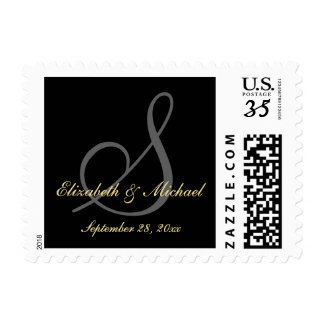 Elegant Monogram Black Wedding Save the Date Stamp