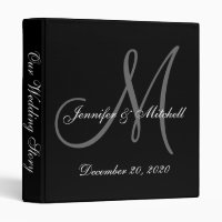 Elegant Monogram Black & White Wedding Binder