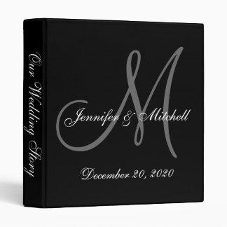 Elegant Monogram Black & White Wedding Binder