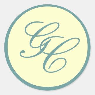 Elegant Monogram Blue and Ivory Wedding Sticker