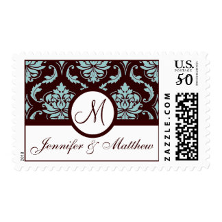 Elegant Monogram Blue Brown Wedding Stamp