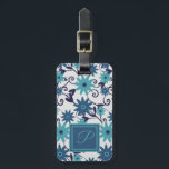 """Elegant monogram blue  turquoise flower pattern luggage tag<br><div class=""""desc"""">Elegant modern blue white turquoise flower pattern luggage tag. Customize the front with your monogram letter and add your contact details on the back. Great as a gift.</div>"""