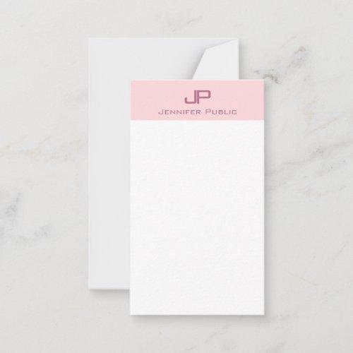 Elegant Monogram Blush Pink Modern Simple Trendy Note Card