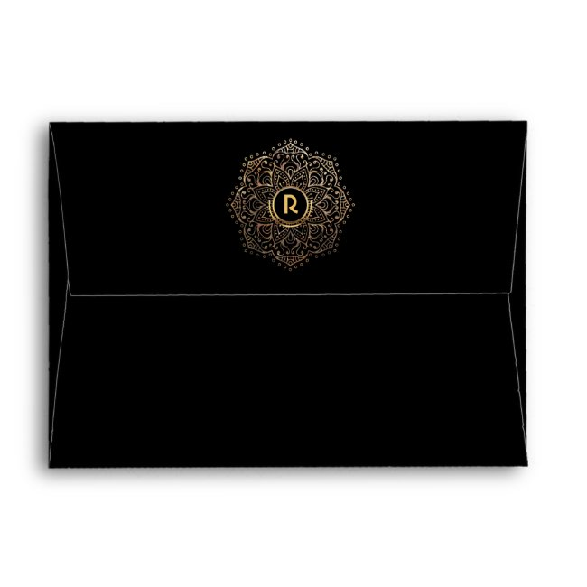 Elegant Monogram Boho Black Gold Foil Mandala 5x7 Envelope