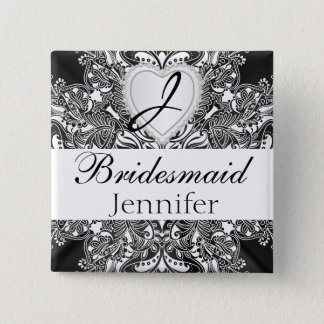 Elegant Monogram Bridal Party Black Satin Design Pinback Button