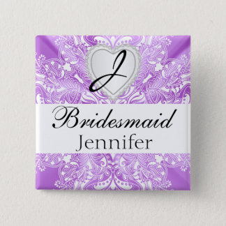 Elegant Monogram Bridal Party Purple Satin Design Pinback Button