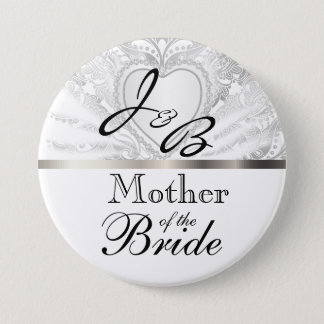 Elegant Monogram Bridal Party White Satin Design Button