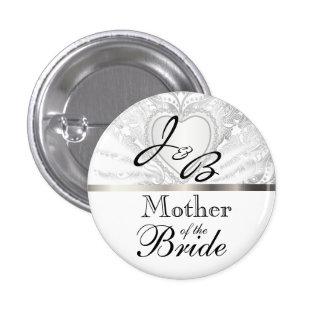 Elegant Monogram Bridal Party White Satin Design Button