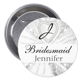 Elegant Monogram Bridal Party White Satin Design Pinback Button
