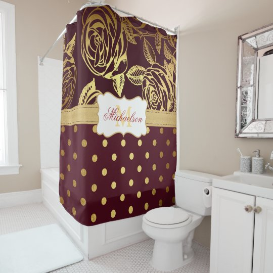 Elegant Monogram Burgundy Gold Rose Polka Dot Shower Curtain