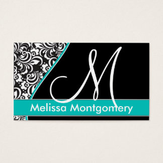 Elegant Monogram business card - Teal