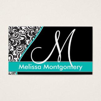Elegant Monogram business card - Teal
