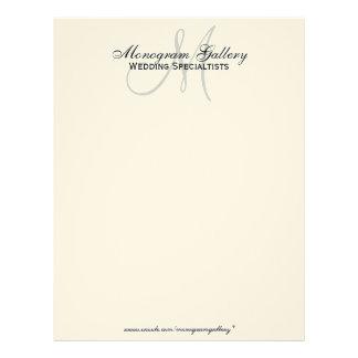 Elegant Monogram Business Letterhead Cream Paper