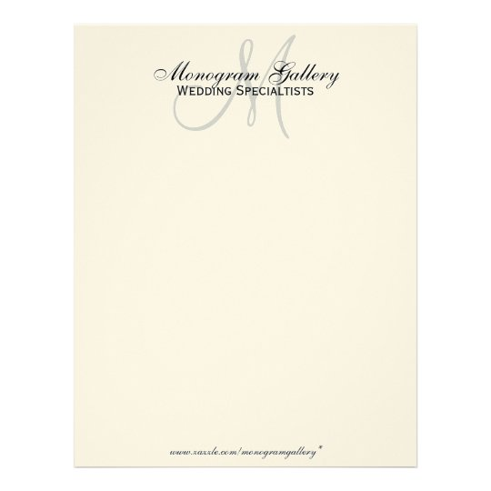 Elegant Professional Corporate Letterhead Template 000890: Elegant Monogram Business Letterhead Cream Paper