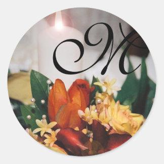 Elegant Monogram Candlelight Yellow Floral Sticker