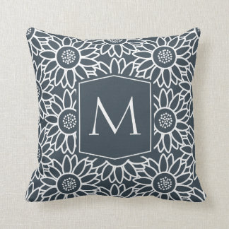Elegant Monogram Charcoal Sunflower Throw Pillow