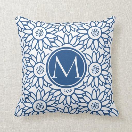 Elegant Monogram Classic Blue Sunflower Throw Pillow Zazzle