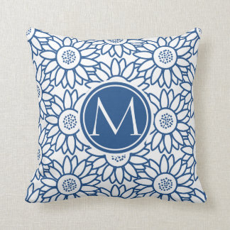Elegant Monogram Classic Blue Sunflower Throw Pillow