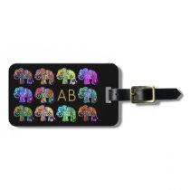 Elegant monogram colorful ornamental elephants luggage tag