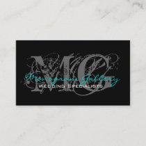 Elegant Monogram Customizable Business Card Blue