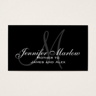 Elegant Monogram Customizable Mommy Calling Card