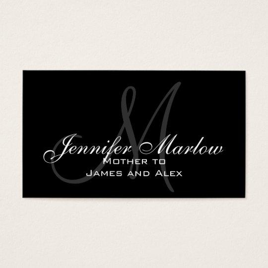 Elegant Monogram Customizable Mommy Calling Card