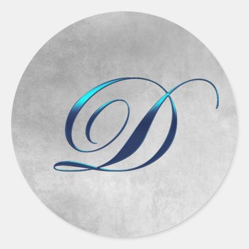 Elegant Monogram D Wedding Sticker