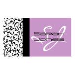 Elegant Monogram Damask Business Card Lilac