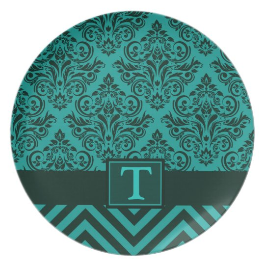 Elegant Monogram Damask Chevron Designer Party Melamine Plate
