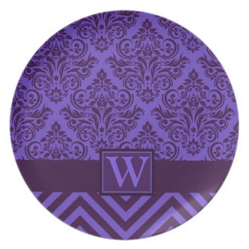 Elegant Monogram Damask Chevron Designer Party Party Plate