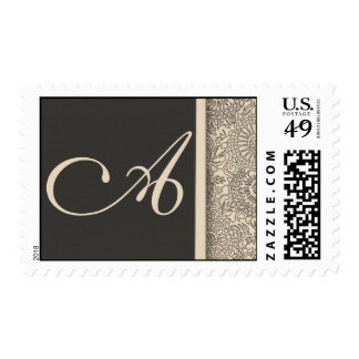 Elegant monogram damask design of cream and gray postage