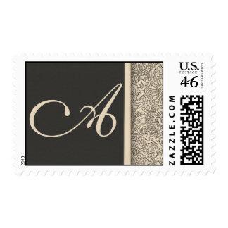 Elegant monogram damask design of cream and gray postage