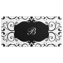 Elegant Monogram Damask Pattern License Plate