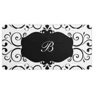 Elegant Monogram Damask Pattern License Plate