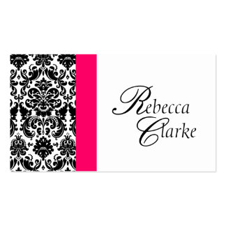 Elegant Monogram Damask Pink Busines Card