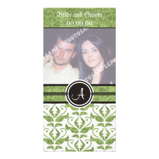 Elegant Monogram Damask Save The Date  Photo Cards