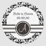 Elegant Monogram Damask Save The Date Stickers