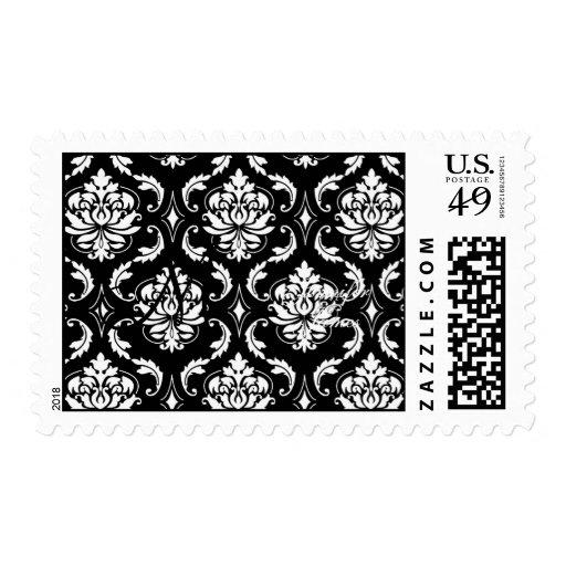 Elegant Monogram Damask Wedding Postage Black