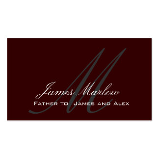 Elegant Monogram Dark Brown Daddy Calling Card Double-Sided Standard Business Cards (Pack Of 100)