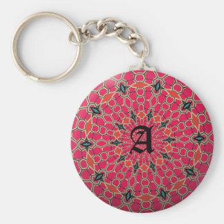 Elegant Monogram Dark Pink Mosaic Circle Keychain