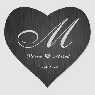 Elegant Monogram Diamond Themed Thank You Sticker