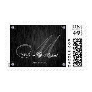 Elegant Monogram Diamond Themed Wedding Postage