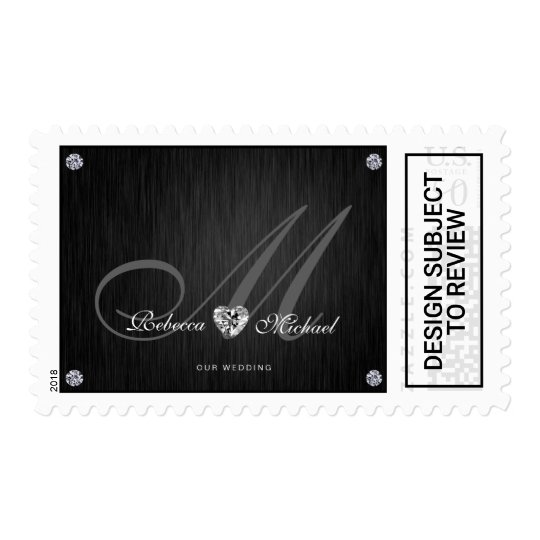 Elegant Monogram Diamond Themed Wedding Postage Zazzle