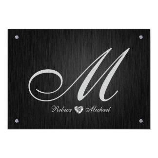 Elegant Monogram  & Diamond Wedding RSVP Cards. Custom Invitation