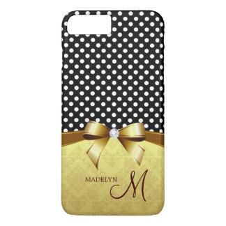 Elegant Monogram Dots Pattern Gold Ribbon Diamond iPhone 7 Plus Case
