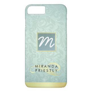 Elegant Monogram Faux Gold Turquoise Damask Floral iPhone 7 Plus Case